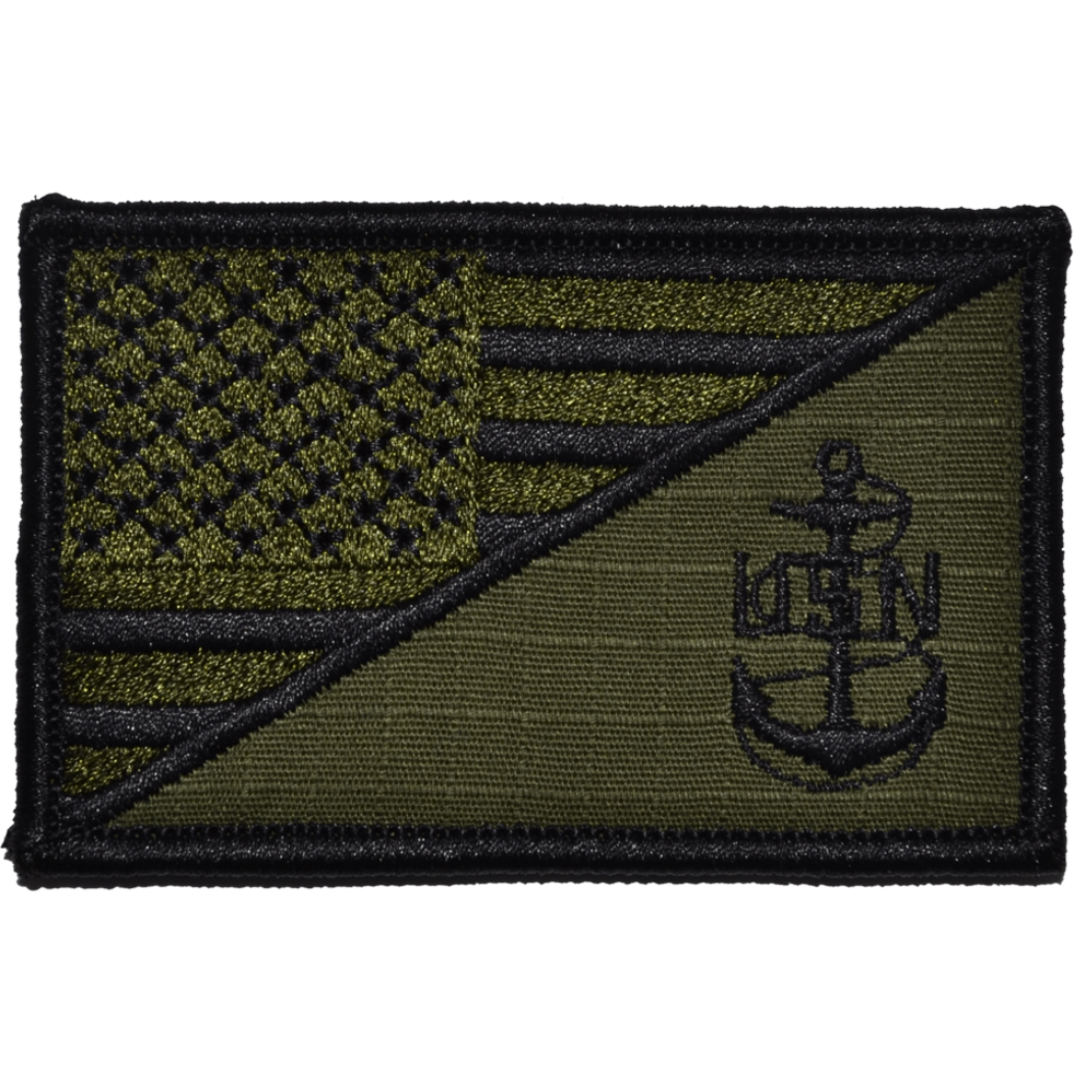 Navy CPO Anchor USA Flag 2.25 x 3.5 inch Patch