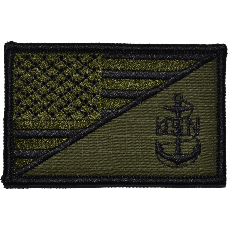 Tactical Gear Junkie Patches Olive Drab Navy Chief Petty Officer Anchor USA Flag - 2.25x3.5 Patch