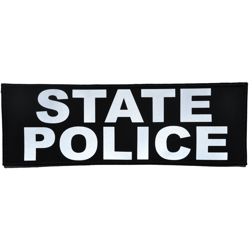 Tactical Gear Junkie Patches Black State Police Reflective - 4x12 Patch