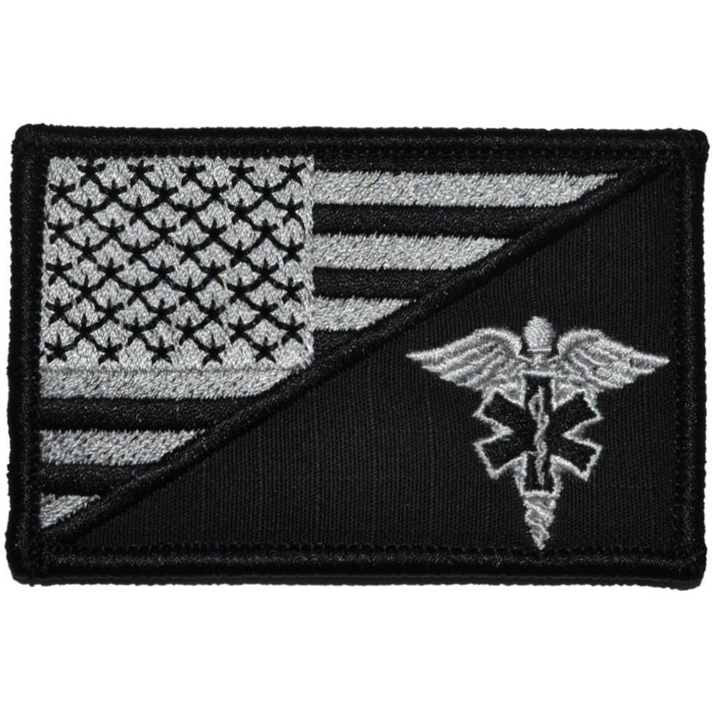 Tactical Gear Junkie Patches Black EMT Caduceus Star of Life USA Flag - 2.25x3.5 Patch
