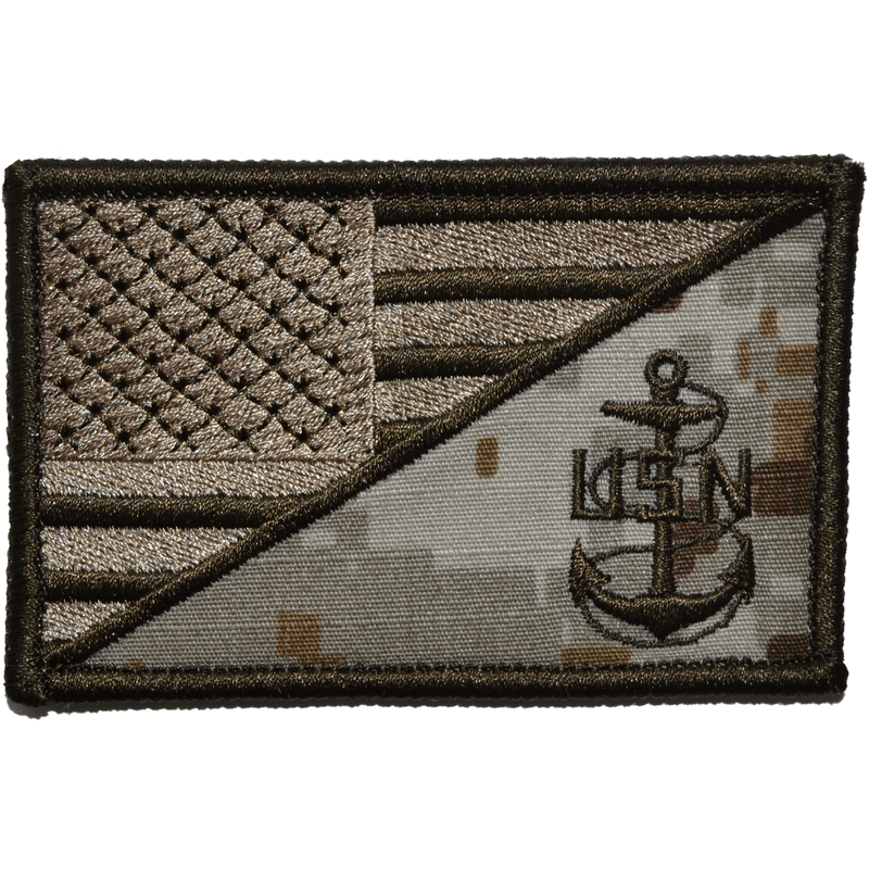 Tactical Gear Junkie Patches MARPAT Desert Navy Chief Petty Officer Anchor USA Flag - 2.25x3.5 Patch
