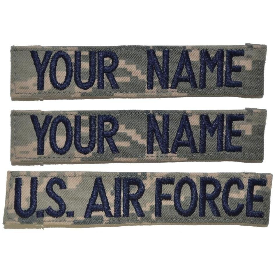 3 Piece Custom Name Tape Set w/ Hook Fastener Backing - ABU
