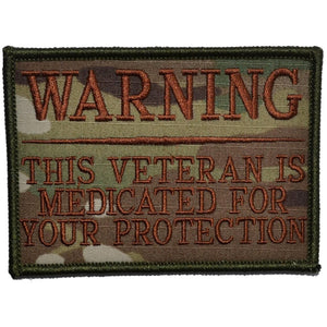 WARNING: This Veteran is Medicated for Your Protection - 2.75x4 inch Patch