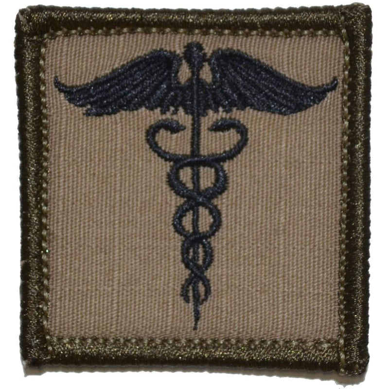 Tactical Gear Junkie Patches Coyote Brown w/ Black Caduceus Staff of Life - 2x2 Patch