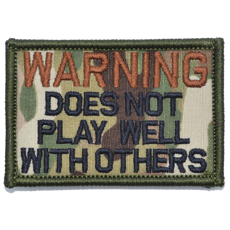 Tactical Gear Junkie Patches MultiCam WARNING: Does Not Play Well With Others - 2x3 Patch