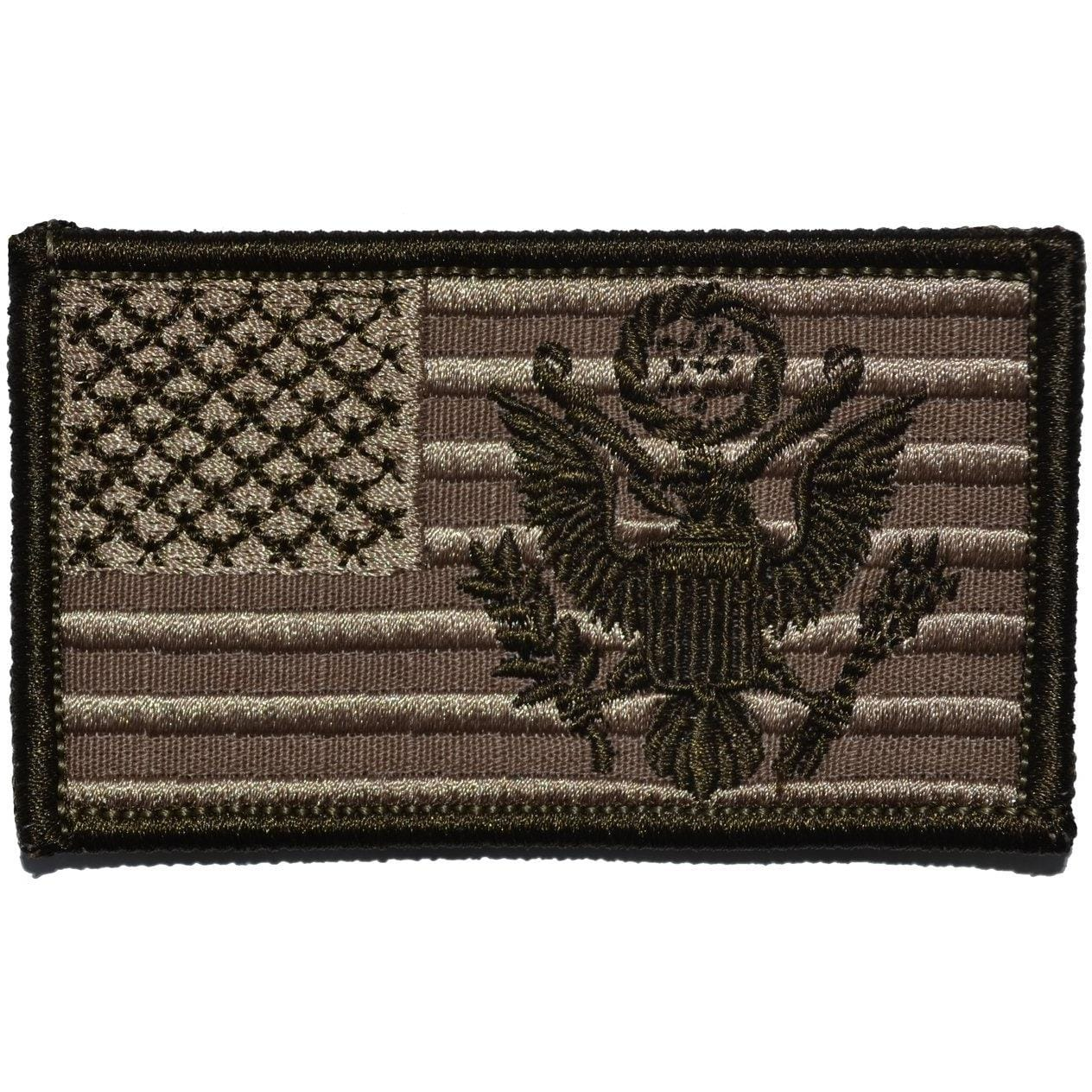 Tactical Gear Junkie Patches Coyote Brown USA Flag with Superimposed U.S. Army Crest - 2x3.5 Patch