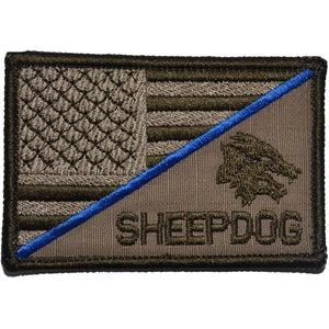 Sheepdog Head with Thin Blue Line USA Flag - 2.25x3.5 Patch