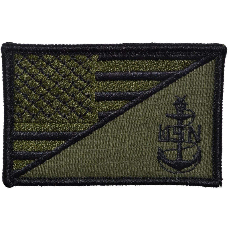 Tactical Gear Junkie Patches Olive Drab Navy SCPO Senior Chief Petty Officer USA Flag - 2.25x3.5 Patch