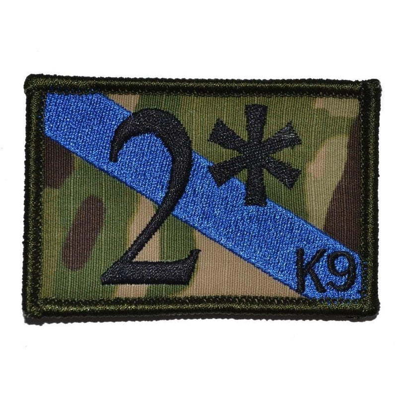 Tactical Gear Junkie Patches MultiCam 2* Two Ass to Risk Thin Blue Line K9 Police Unit - 2x3 Patch