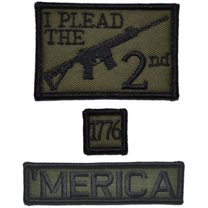Patch Set: I Plead the 2nd Second Amendment 2x3, 'Merica 1x3.75, 1776 1x1