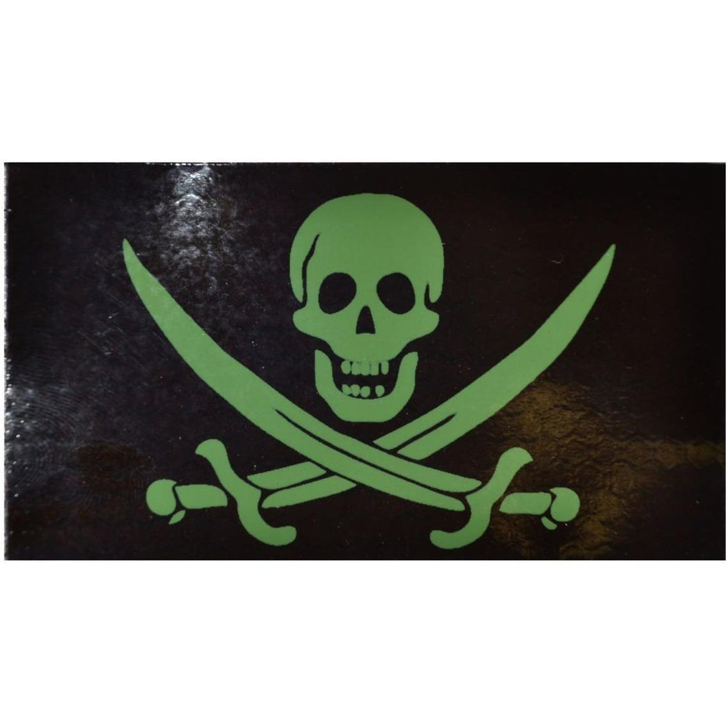 IR (Infrared) Pirate Jolly Roger Calico Jack (Green Graphic) - 2x3.5 Patch