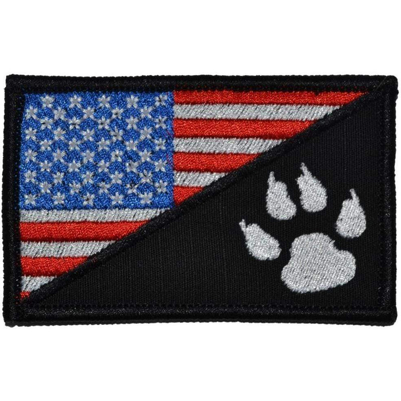 Tactical Gear Junkie Patches Full Color K9 Tracker Paw USA Flag - 2.25x3.5 Patch