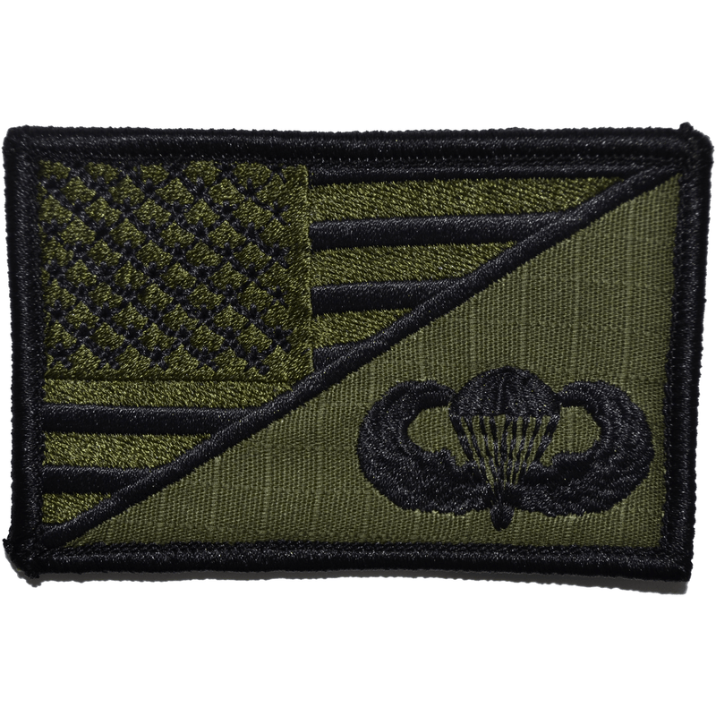 Tactical Gear Junkie Patches Olive Drab Parachute Jump Wings USA Flag - 2.25x3.5 Patch
