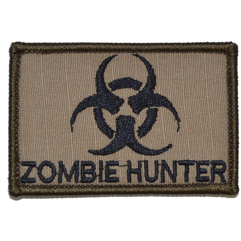 Tactical Gear Junkie Patches Coyote Brown w/ Black Zombie Hunter Biohazard - 2x3 Patch