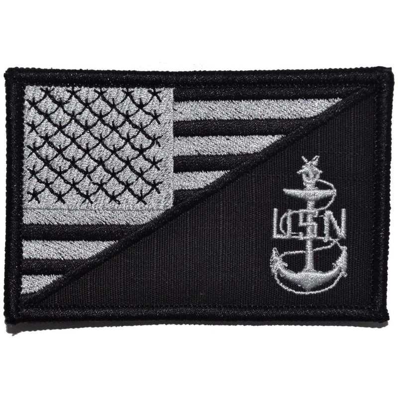 Tactical Gear Junkie Patches Black Navy SCPO Senior Chief Petty Officer USA Flag - 2.25x3.5 Patch