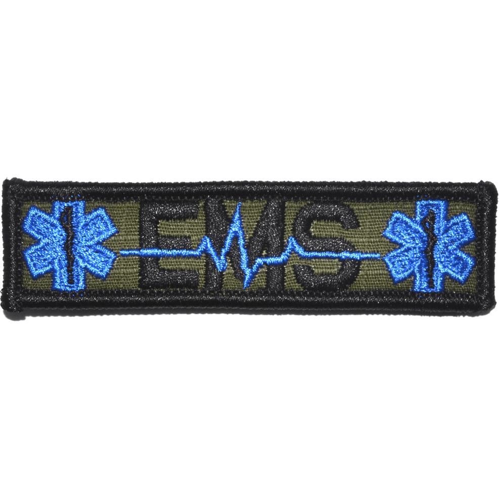 Tactical Gear Junkie Patches Olive Drab EMS Heartbeat and Stars of Life - 1x3.75 Patch