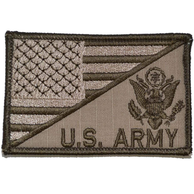 Tactical Gear Junkie Patches Coyote Brown US Army Crest With Text USA Flag - 2.25x3.5 Patch