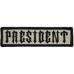 President Biker Club Patch - 1x3.75 inch SEW-On / IRON-on