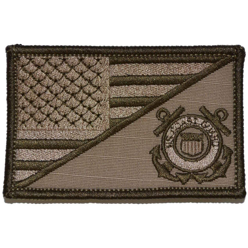 Tactical Gear Junkie Patches Coyote Brown Coast Guard USA Flag - 2.25x3.5 Patch