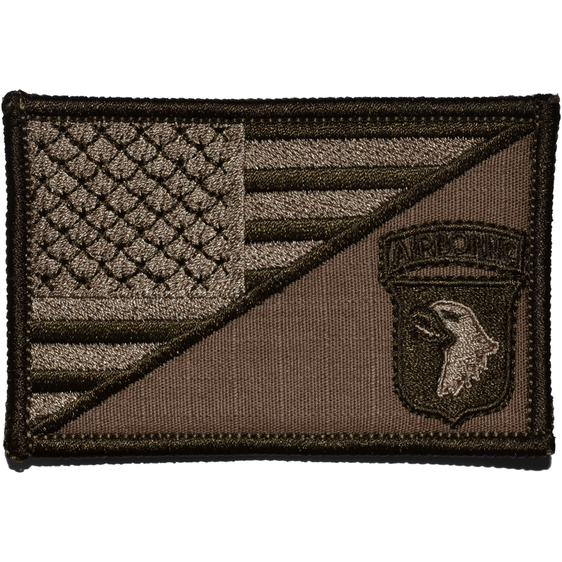 Tactical Gear Junkie Patches Coyote Brown 101st Airborne Division USA Flag - 2.25x3.5 Patch
