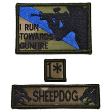 Patch Set:  I Run Towards Gunfire 2x3, Sheepdog 1x3.75, 1* One Ass to Risk 1x1