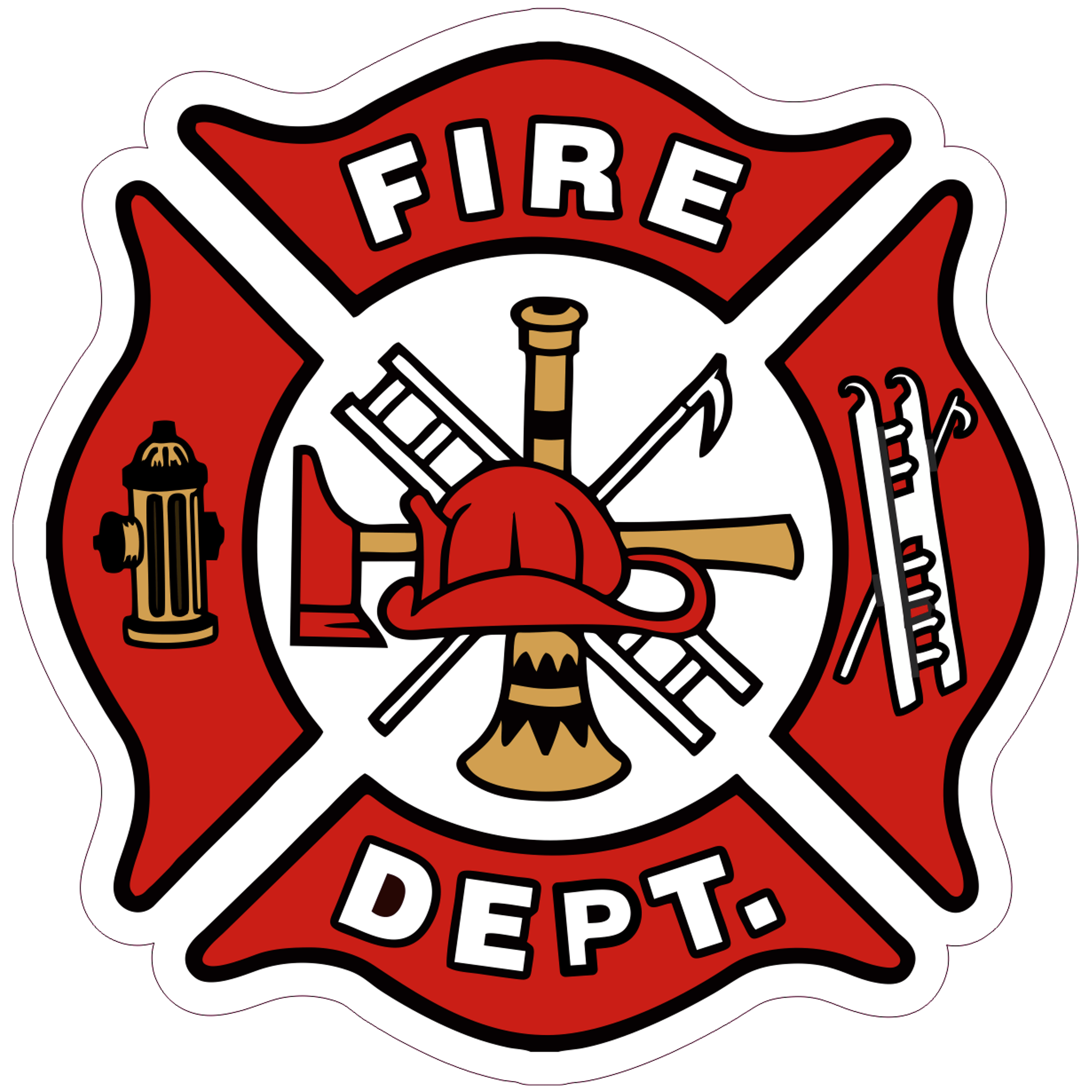 Fire Dept. Maltese Cross - 4 inch Sticker