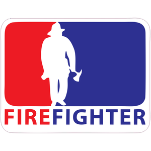Firefighter MLB-Style (Design 2) - 4x3 inch Sticker