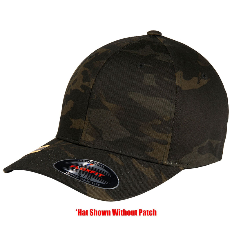 Tactical Gear Junkie Apparel MultiCam Black / S/M FlexFit Hat with Templar Cross Shield PVC Patch - Multiple Colors