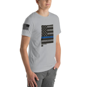 New Mexico - Distressed Thin Blue Line American Flag State T-Shirt