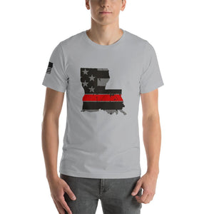 Louisiana - Distressed Thin Red Line American Flag State T-Shirt