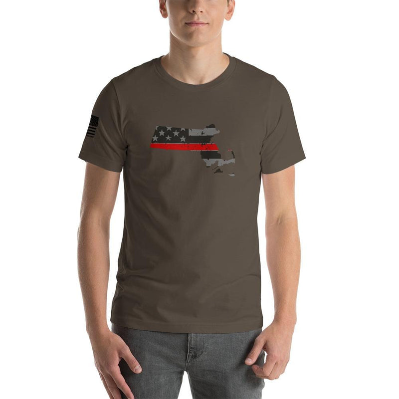 Massachusetts - Distressed Thin Red Line American Flag State T-Shirt