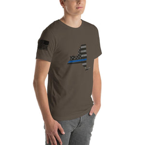 New York - Distressed Thin Blue Line American Flag State T-Shirt