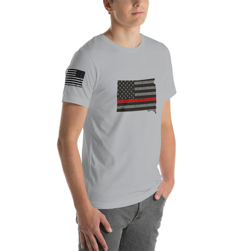 South Dakota - Distressed Thin Red Line American Flag State T-Shirt