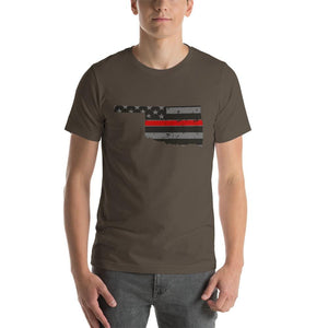 Oklahoma - Distressed Thin Red Line American Flag State T-Shirt