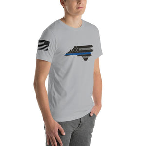 North Carolina - Distressed Thin Blue Line American Flag State T-Shirt