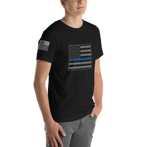 Colorado - Distressed Thin Blue Line American Flag State T-Shirt