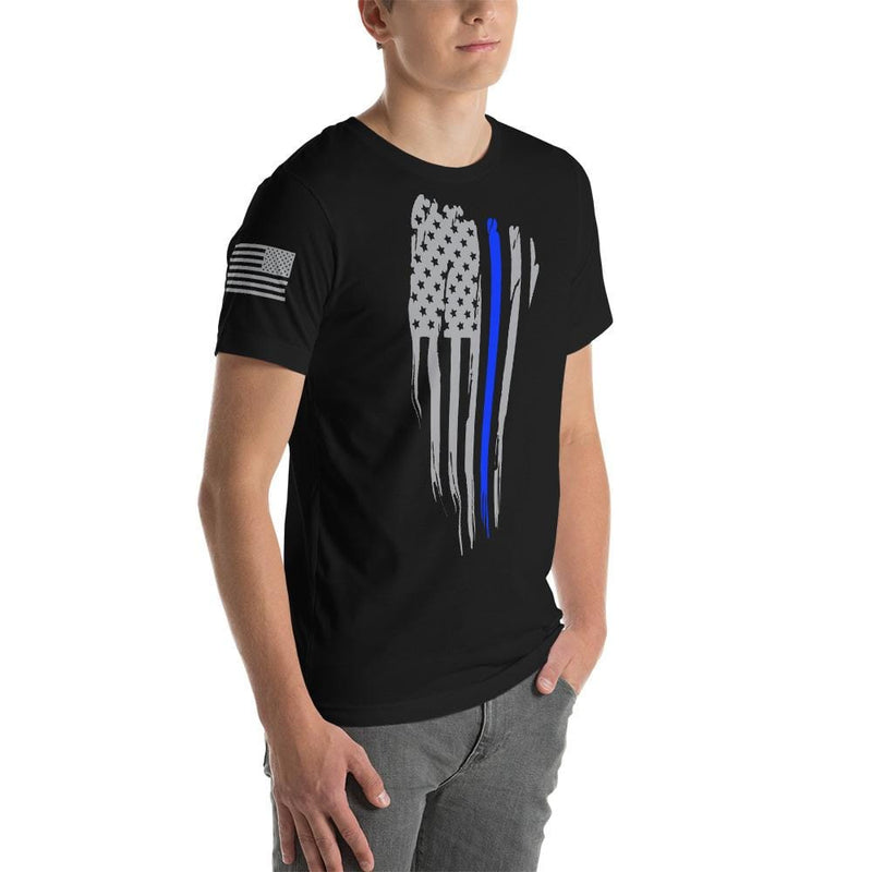 Distressed Thin Blue Line American Flag T-Shirt