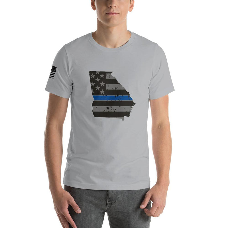 Tactical Gear Junkie Apparel Silver / S Georgia - Distressed Thin Blue Line American Flag State T-Shirt
