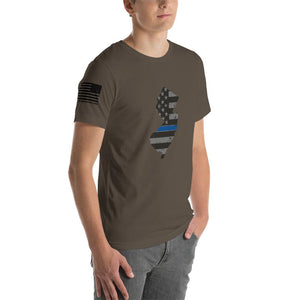 New Jersey - Distressed Thin Blue Line American Flag State T-Shirt