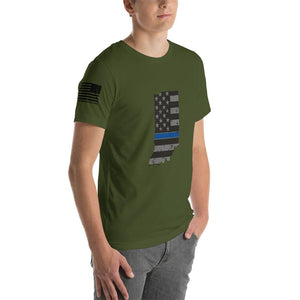Indiana - Distressed Thin Blue Line American Flag State T-Shirt