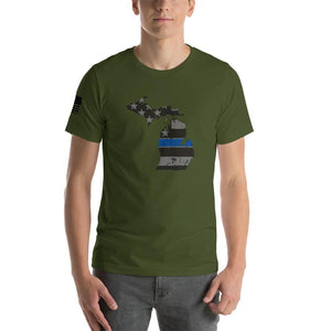 Michigan - Distressed Thin Blue Line American Flag State T-Shirt