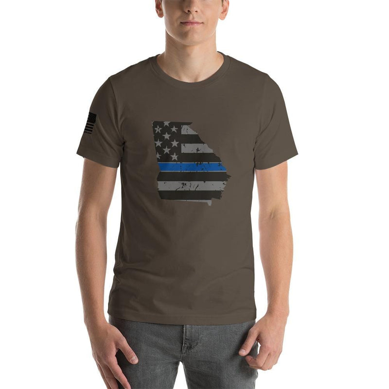 Tactical Gear Junkie Apparel Army / S Georgia - Distressed Thin Blue Line American Flag State T-Shirt