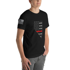Nevada - Distressed Thin Red Line American Flag State T-Shirt