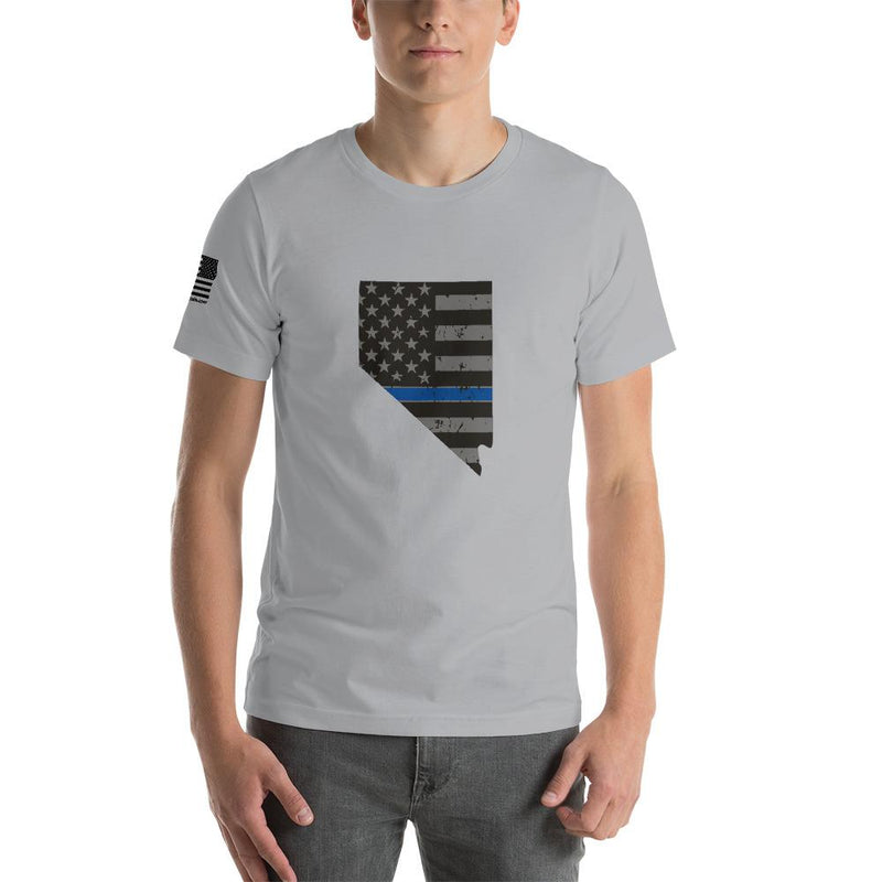 Nevada - Distressed Thin Blue Line American Flag State T-Shirt