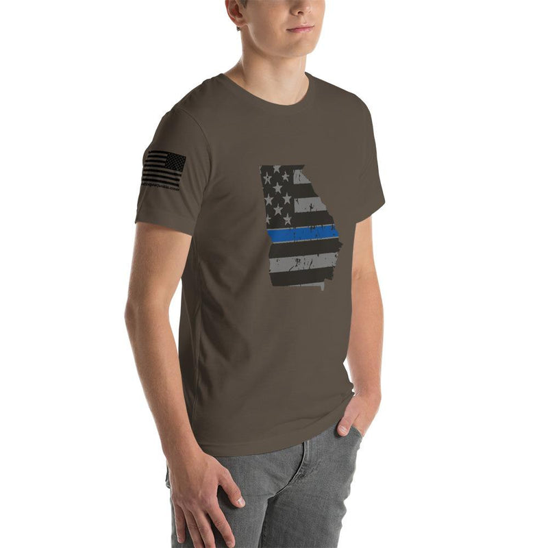 Tactical Gear Junkie Apparel Georgia - Distressed Thin Blue Line American Flag State T-Shirt