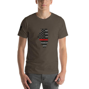 Illinois - Distressed Thin Red Line American Flag State T-Shirt