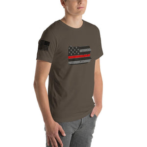 Pennsylvania - Distressed Thin Red Line American Flag State T-Shirt
