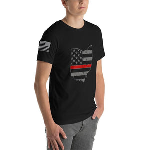 Ohio - Distressed Thin Red Line American Flag State T-Shirt