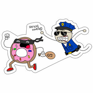 Sketch's World © Police - 4x2.5 inch Sticker
