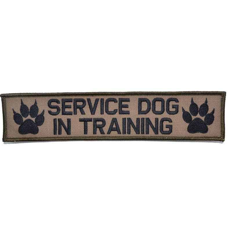 Tactical Gear Junkie Patches Coyote Brown w/ Black Service Dog, In Training - 2x9 Patch